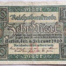 Billetes extranjeros: BILLETE ALEMANIA. 10 MARCOS. 1920. Lote 123213579