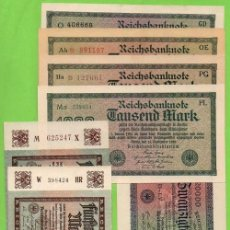 Billetes extranjeros: ALEMANIA LOTE DE 7 BILLETES DE 1922-1923 SIN CIRCULAR. Lote 123480479