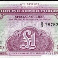 Billetes extranjeros: GRAN BRETAÑA FUERZAS ARMADAS BRITAIN 1 POUND LIBRA 1962 PICK M36 SC / UNC. Lote 123485815