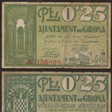 Billetes extranjeros: BILLETE LOCAL 1937 AJUNTAMENT DE GIRONA 25 CTS.. Lote 123590414