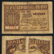 Billetes extranjeros: BILLETE LOCAL 1937 AJUNTAMENT DE VILABOI 25 CTS. Lote 123590446