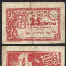 Billetes extranjeros: BILLETE LOCAL 1937 AJUNTAMENT DE MOIÀ 25 CTS.. Lote 123590498
