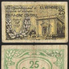 Billetes extranjeros: BILLETE LOCAL 1937 AJUNTAMENT DE EL VENDRELL 25 CTS. Lote 123590618