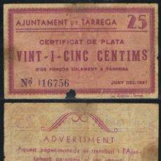 Billetes extranjeros: BILLETE LOCAL 1937 AJUNTAMENT DE TARRREGA 25 CTS.. Lote 123590682