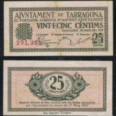 Billetes extranjeros: BILLETE LOCAL 1937 AJUNTAMENT DE TARRAGONA 25 CTS.. Lote 123590686