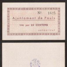 Billetes extranjeros: BILLETE LOCAL 1937 AJUNTAMENT DE PAÜLS 25 CTS.. Lote 123590778