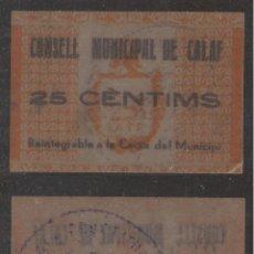 Billetes extranjeros: BILLETE LOCAL 1937 AJUNTAMENT DE CALAF 25 CTS.. Lote 123590806