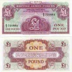 Billetes extranjeros: GRAN BRETAÑA FUERZAS ARMADAS BRITAIN 1 POUND LIBRA 1962 PICK M36 SC / UNC. Lote 124578039
