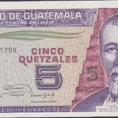 Billetes extranjeros: BILLETES - GUATEMALA - 5 QUETZALES 1991 - SERIE D9372178B - PICK-74B (SC). Lote 171885523