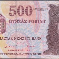 Billetes extranjeros: BILLETES - HUNGRIA - 500 FORINT 2001 - SERIE EB 3315719 - PICK-188A (SC). Lote 179394481