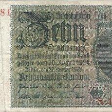Billetes extranjeros: BÉLGICA (OCUPACIÓN ALEMANA) - BELGIUM 10 REICHSMARK 22-1-1929 SELLO EUPEN RARO. Lote 126070611