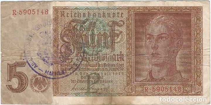 BÉLGICA (OCUPACIÓN ALEMANA) - BELGIUM 5 REICHSMARK 1-8-1942 SELLO MALMEDY RARO (Numismática - Notafilia - Billetes Extranjeros)