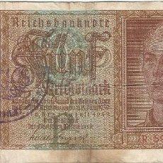 Billetes extranjeros: BÉLGICA (OCUPACIÓN ALEMANA) - BELGIUM 5 REICHSMARK 1-8-1942 SELLO MALMEDY RARO. Lote 126070655