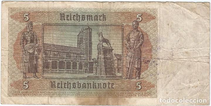 Billetes extranjeros: Bélgica (ocupación alemana) - Belgium 5 reichsmark 1-8-1942 sello Malmedy RARO - Foto 2 - 126070655