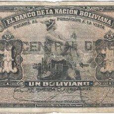 Billetes extranjeros: BOLIVIA 1 BOLIVIANO 11-05-1911 (1929) PICK 112.3. Lote 126105491