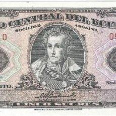 Billetes extranjeros: ECUADOR 5 SUCRES 22-11-1988 PICK 113D ID SIN CIRCULAR. Lote 153896664