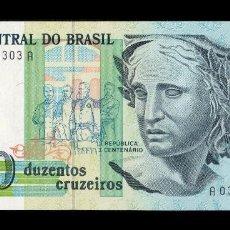 Billetes extranjeros: BRASIL BRAZIL 200 CRUZEIROS 1990 PICK 229 SC UNC. Lote 126372159