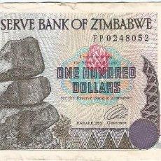 Billetes extranjeros: ZIMBABUE - ZIMBABWE 100 DOLLARS 1995 PICK 9A. Lote 126689995