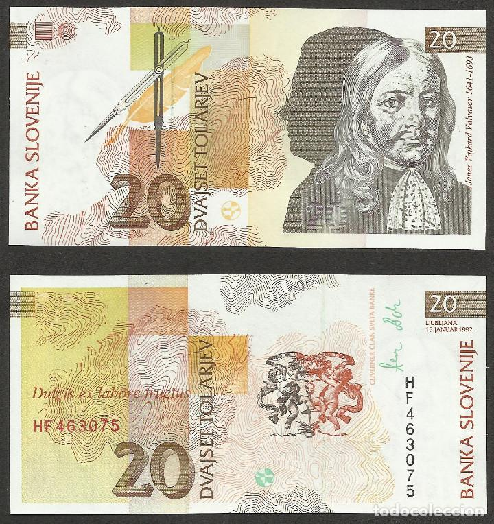 ESLOVENIA 20 TOLARJEV 1992 PICK 12A - S/C (Numismática - Notafilia - Billetes Extranjeros)