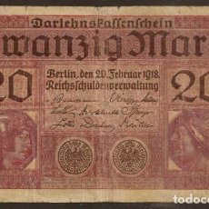 Billetes extranjeros: ALEMANIA. 20 MARK 21.2.1918. PICK 57. I G.M.. Lote 127498411