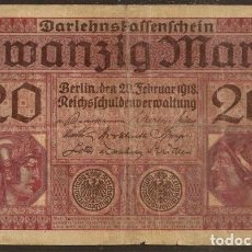 Billetes extranjeros: ALEMANIA. 20 MARK 21.2.1918. PICK 57. I G.M.. Lote 127498428