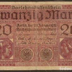 Billetes extranjeros: ALEMANIA. 20 MARK 21.2.1918. PICK 57. I G.M.. Lote 127498454