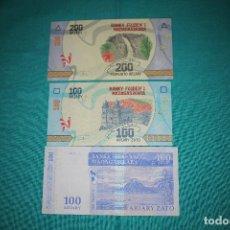 Billetes extranjeros: MADAGASCAR LOTE DE 3 BILLETES SIN CIRCULAR. Lote 127532387