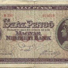 Billetes extranjeros: BILLETE 100 PENGO, HUNGRIA. Lote 127650291
