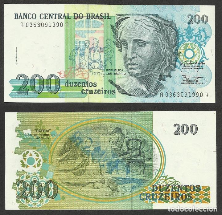 BRASIL 200 CRUZEIROS 1990 PICK 229 - S/C (Numismática - Notafilia - Billetes Extranjeros)