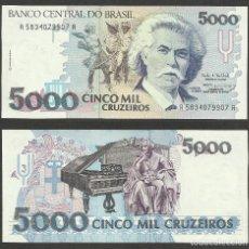 Billetes extranjeros: BRASIL 5000 CRUZEIROS 1993 PICK 232C - S/C. Lote 127821351