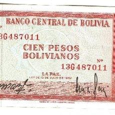 Billetes extranjeros: BOLIVIA 100 PESOS 1962. Lote 127905279