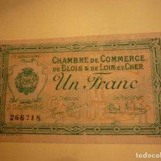 Billetes extranjeros: FRANCIA, 1 FRANCO CAMARA DE COMERCIO BLOIS & LOIR ET CHER 1916. Lote 127978331