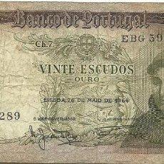 Billetes extranjeros: BILLETE 20 ESCUDOS, PORTUGAL 1964. Lote 128044163