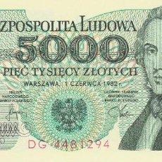 Billetes extranjeros: POLONIA 5.000 ZLOTYCH 1982. Lote 128320603