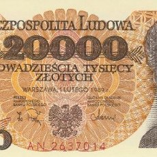 Billetes extranjeros: POLONIA 20.000 ZLOTYCH 1988. Lote 128320851