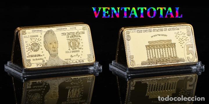 ESTADOS UNIDOS LINGOTE 5 DOLARES ORO DE 24 KILATES 34 GRAMOS( LINCOLN - PRESIDENTE DE 1861 A 1865)N1 (Numismática - Notafilia - Billetes Internacionales)