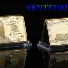 Billetes extranjeros: LINGOTE 50 DOLARES ORO DE 24 KILAT 32 GRAMOS( GRANT - PRESIDENTE DE 1869 A 1877 ESTADOS UNI)N2. Lote 199164373