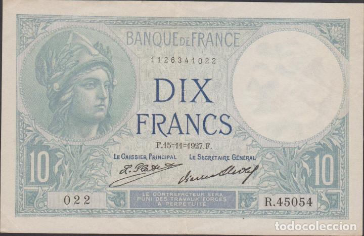 BILLETES FRANCIA - 10 FRANCS 1927 - SERIE R 45054 (CAPICUA-RADAR) - PICK-73D (MBC+) (Numismática - Notafilia - Billetes Extranjeros)
