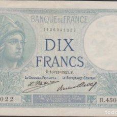 Billetes extranjeros: BILLETES FRANCIA - 10 FRANCS 1927 - SERIE R 45054 (CAPICUA-RADAR) - PICK-73D (MBC+). Lote 128861347