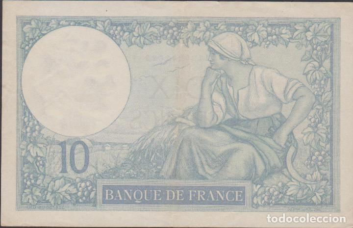 Billetes extranjeros: BILLETES FRANCIA - 10 FRANCS 1927 - SERIE R 45054 (CAPICUA-RADAR) - PICK-73D (MBC+) - Foto 2 - 128861347