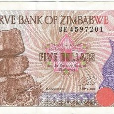 Billetes extranjeros: ZIMBABUE - ZIMBABWE 5 DOLLARS 1997 PICK 5A. Lote 129080659