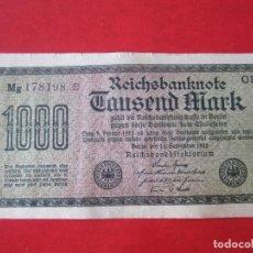 Billetes extranjeros: ALEMANIA. BILLETE DE 1000 MARCOS. 1922. Lote 129090475