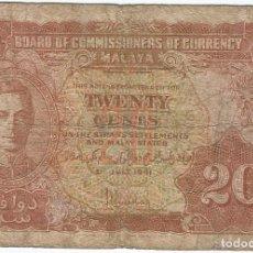 Billetes extranjeros: MALAYA 20 CENTS 1-7-1941 PICK 9A. Lote 130131327