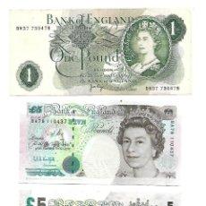 Billetes extranjeros: INGLATERRA LOTE DE 3 BILLETES (2 DE 5 LIBRAS Y 1 DE 1 LIBRA). Lote 130344306