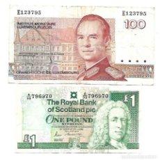 Billetes extranjeros: LUXEMBURGO 100 FRANCS Y ESCOCIA 1 POUND. Lote 130440038
