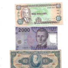 Billetes extranjeros: LOTE DE 4 BILLETES AMERICA CHILE, BRASIL, CUBA JAMAICA. Lote 130441078