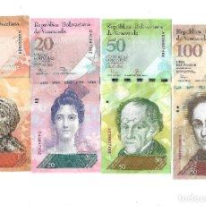 Billetes extranjeros: VENEZUELA 5, 20 , 50 Y 100 BOLIVARES. SIN CIRCULAR. Lote 130442138