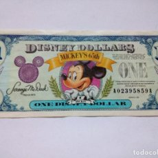 Billetes extranjeros: 1 DOLAR DISNEY, DOLLAR DISNEY 1993, SERIE A, 65 ANIVERSARIO DE MICKEY´S 65TH. Lote 130566690