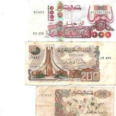 Billetes extranjeros: ALGERIA / ARGELIA LOTE DE 4 BILLETES DIREFENTES 1000 FRANCS, 200 FRANCS (2) Y 10 FRANCS. Lote 130588750