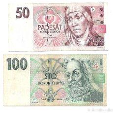 Billetes extranjeros: REPUBLICA CHECA 100 KORUN Y 50 KORUN 1997. Lote 130588930